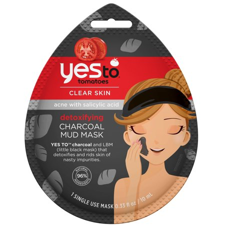 (2 pack) Yes To Tomatoes Clear Skin Detoxifying Charcoal Mud Mask, Single Use Face Mask