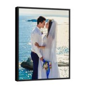 P&L ART. Canvas Prints with Your Photos, Personalized Canvas Wall Art Wedding Baby Dog Family Pictures Home Decor, Customized Gifts with Black Floating Frame 14x11 Inch