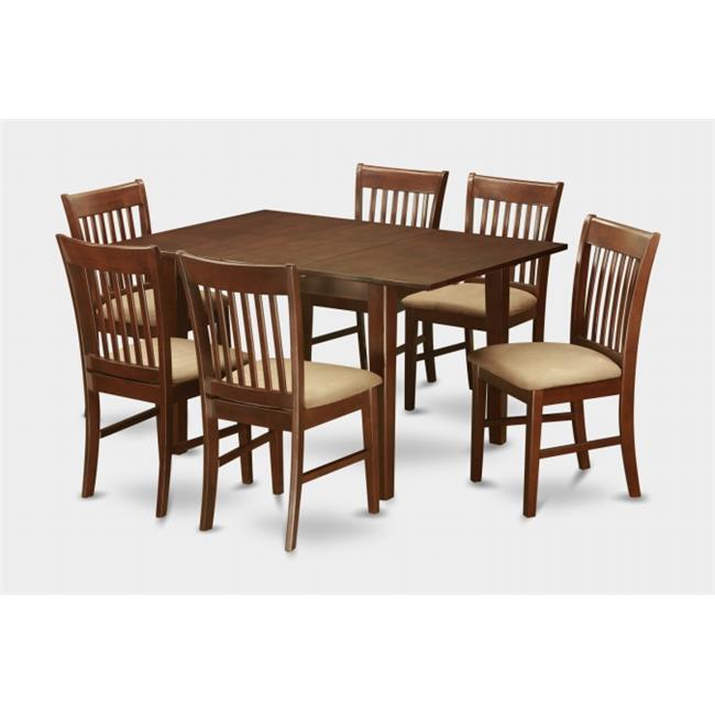 East West Furniture PSNO7-MAH-C 7 Pc Dining Table 32x60in With 6 Slatted Back Cushioned Seat Chairs