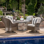 Alameda Outdoor 5 Piece Wicker Swivel Club Chairs with Gas Burning Fire Pit, Brown, Ceramic Grey and Stone Finish