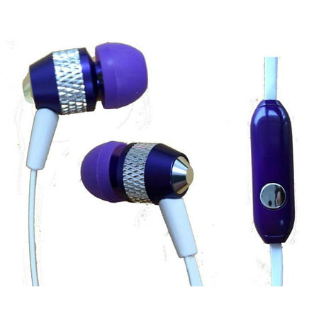 Super Bass Noise-Isolation Stereo Earbuds/ Earphones for LG Q Stylo 4, Q Stylus, V35 ThinQ, Q7, Q7+, Q7?, K30, G7 ThinQ (Purple) - w/ Mic + MND Stylus Ear Isolation Stereo Earphones
