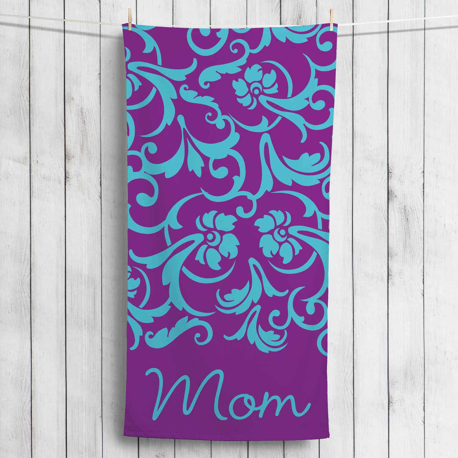 Personalized Beach Towel For Her, Purple