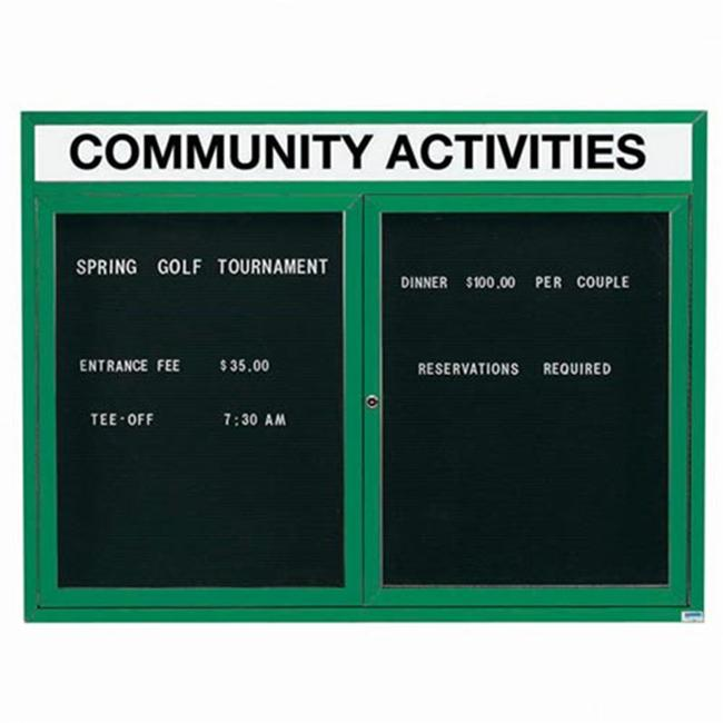 Aarco Products ADC3648HIG 36 inch H x 48 inch W 2-Door Illuminated Enclosed Directory Board with Header - Green