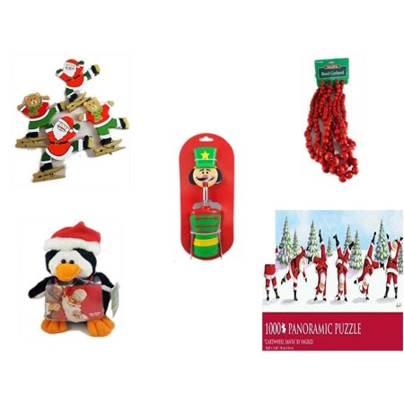 Christmas Fun Gift Bundle [5 Piece] - Set of 4 Wooden Clothes Pin Ornaments -  Time Red Bead Garland 9' Foot - Nutcracker Wine Bottle Opener -  Penguin  Gift Card Holder 6