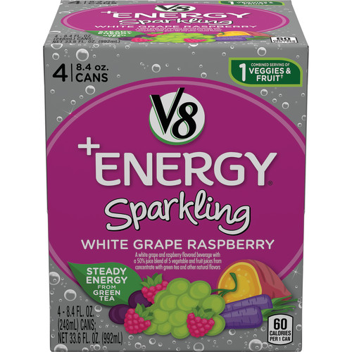 V8 +Energy Sparkling White Grape Raspberry, 8.4 oz., 4 pack