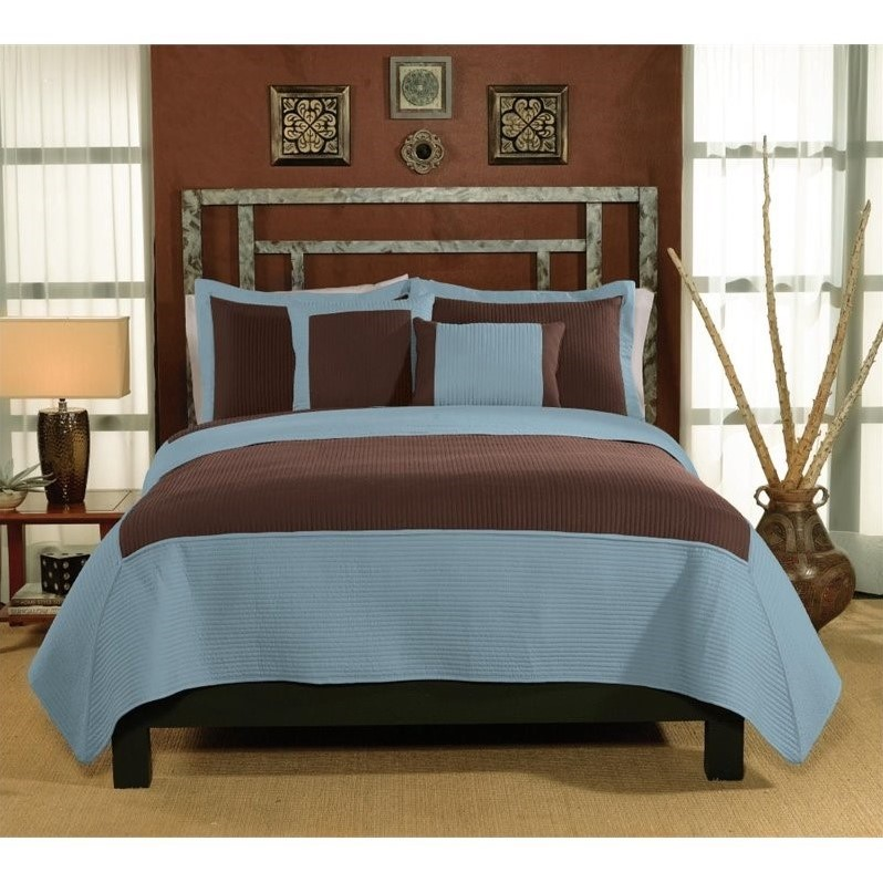 PEM America Barclay Twin Quilt with Pillow Sham in Aqua and Chocolate