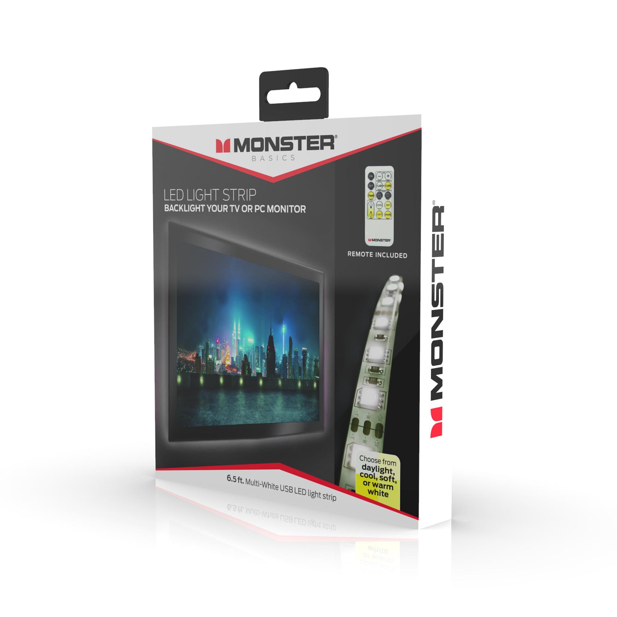 Monster Digital Monster Multi-White USB LED Light Strip with Remote - 6.5ft/2m