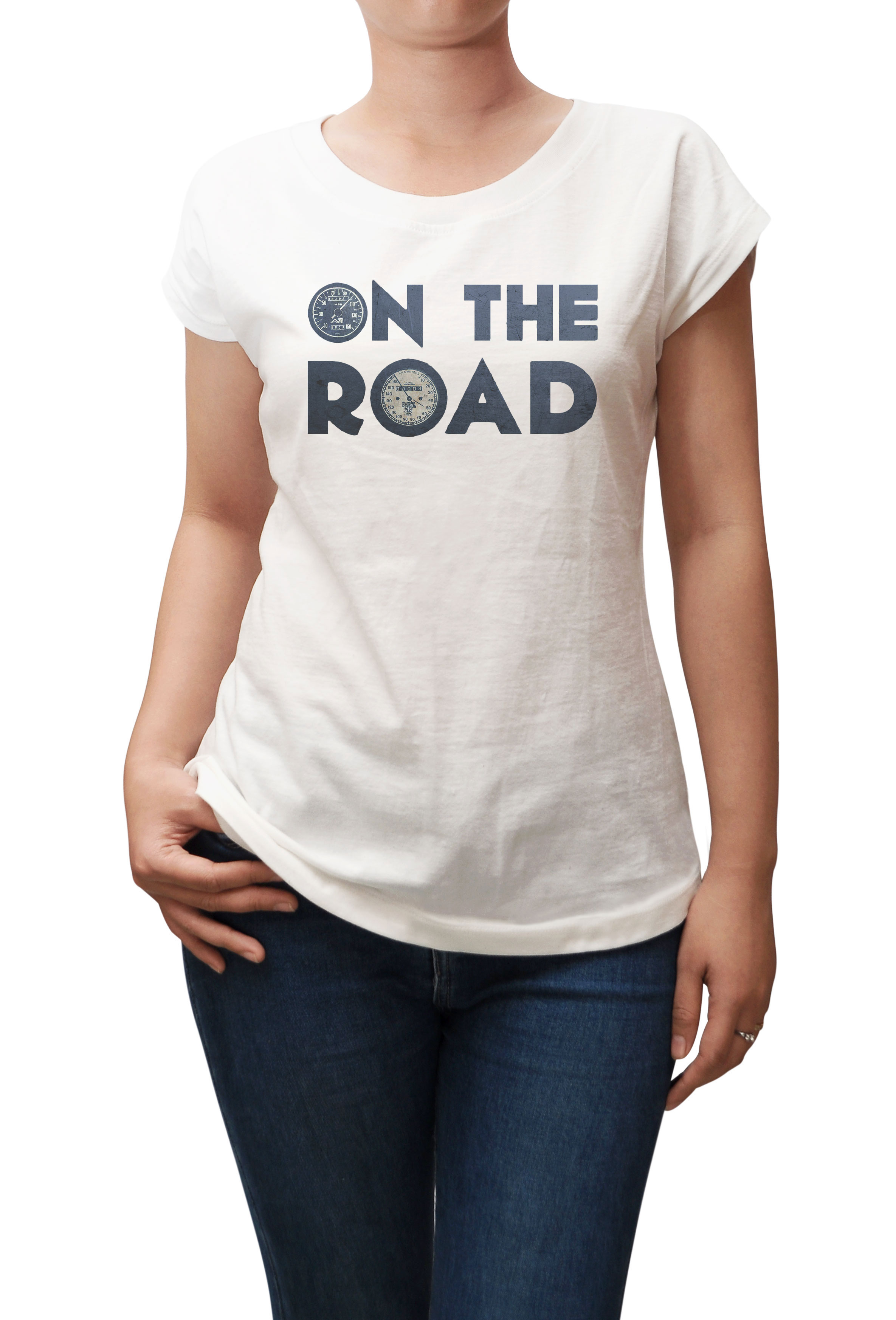 On The Road Printed 100% Cotton Fashion Casual Wear T-shirt Plus Size WTS_02 L