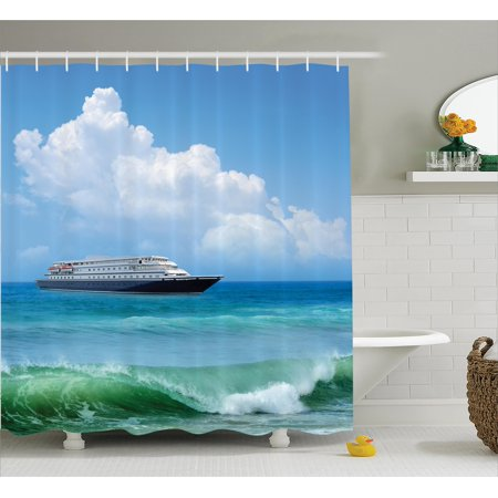 Nautical Shower Curtain Traveling Themed View Of Ship In The Aquatic World With Fluffy Clouds