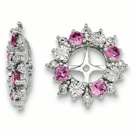 Sterling Silver Rhodium Created Pink Sapphire Earring Jacket 1.79grams (L 15mm W 15mm)Diamond-cut | Sterling silver | Rhodium-plated | Created pink sapphire