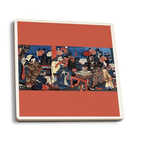 Doctor Huatuo Attending to the Warrior Guanyu's Arm Wound - Japanese Wood-Cut Print (Set of 4 Ceramic Coasters - Cork-backed, Absorbent)