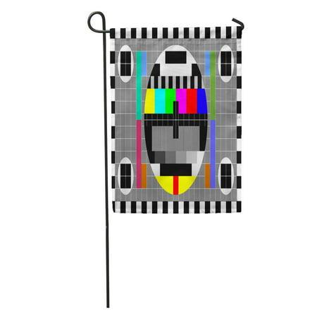 LADDKE Tv Test Rainbow Multi Color Bars and Geometric Signals Technological Garden Flag Decorative Flag House Banner 12x18 inch ()