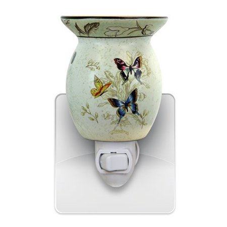 Pluggable Fragrance Warmer - Butterfly Wax Melter & Aroma Diffuser - Warms & Melts Cubes Tarts & Oils Tart Warmer - Plug In Wax Melter - Butterfly NIght Light - Tart & Oil Burner - Heats Scented Cubes