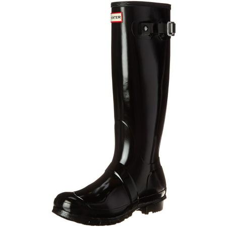 Hunter Womens Original Tall Gloss Rain Boots - Black - Size