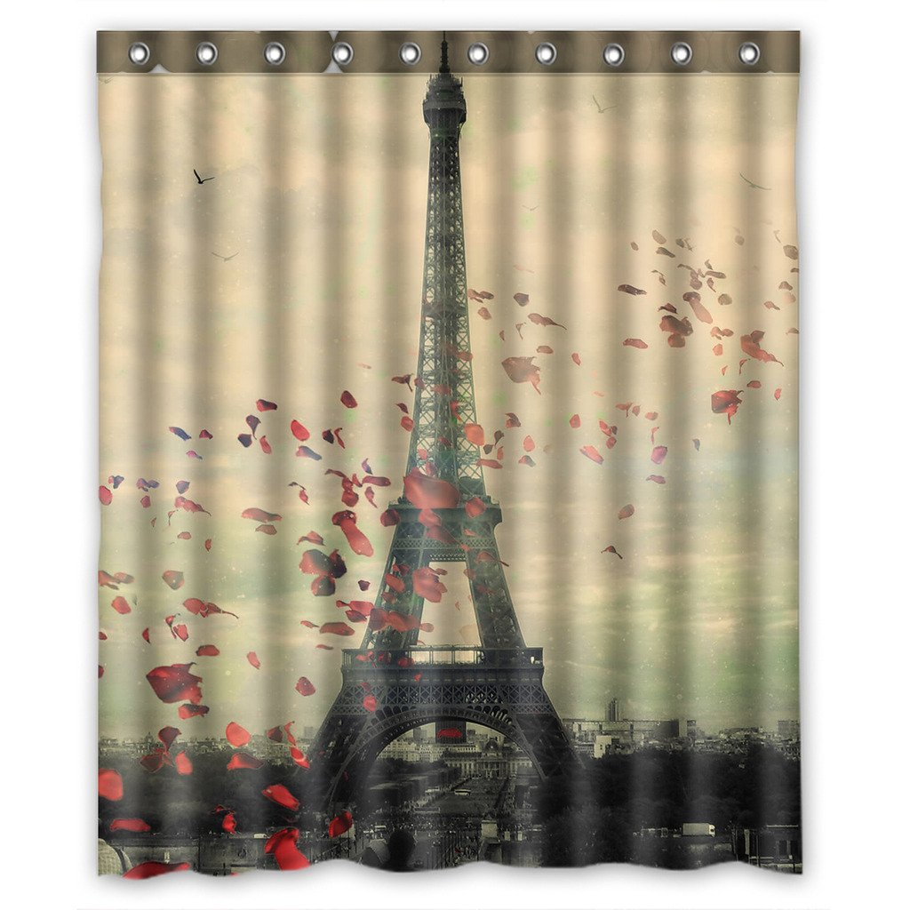 GCKG Frech Paris Eiffel Tower Love Flower Bathroom Shower Curtain Rings Included Polyester Waterproof 66x72 Inches