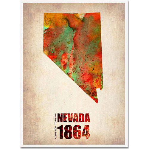 "Trademark Fine Art ""Nevada Watercolor Map"" Canvas Art by Naxart"
