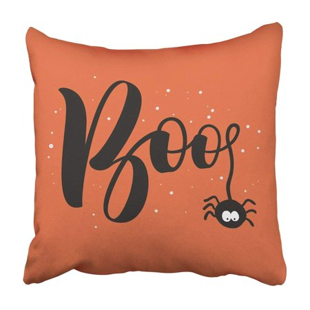 Boo Word For Halloween (BPBOP Black Baby Hanging Word Boo Text With Spider Happy Halloween Calligraphy Celebration Pillowcase 20x20)