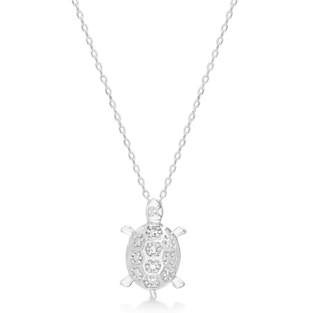 Diamond Accent Beaded Turtle Necklace in Rhodium Plated Brass