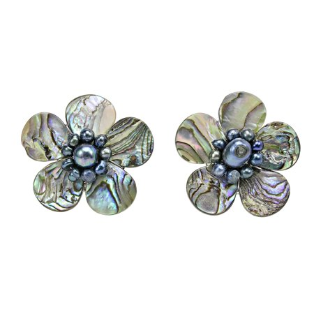 Magnificent Rainbow Abalone Shell Flower Clip On Earrings
