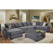 5-Pc Sectional Set with Ottoman in Gray Blue Finish