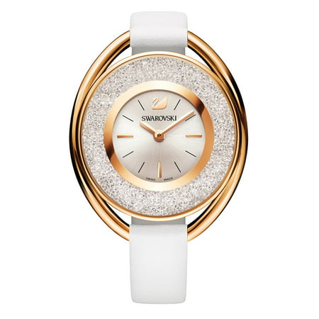 Swarovski Women's Crystalline Oval 1700 Crystals White Leather Watch - 5230946 Swarovski Crystal Heart Watch