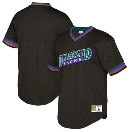 Arizona Diamondbacks Mitchell & Ness Cooperstown Collection Mesh Wordmark V-Neck Jersey - Black ()