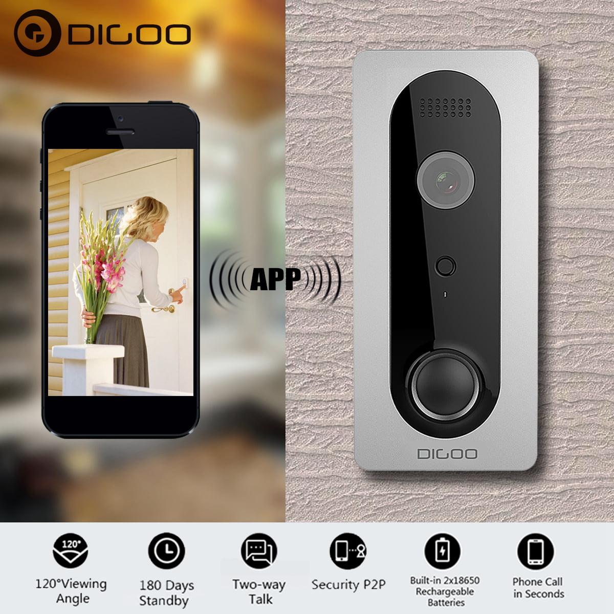 DIGOO 1080P WIFI Wireless Ring DoorBell with Camera Smart Home Night Visual Video Security Camera Phone App Control Intercom Alarm Clear Night Vision Doorbell