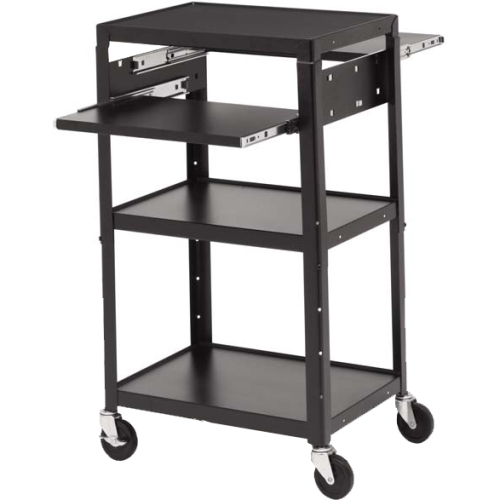 "Bretford Basics A2642dns-e5 Multimedia Cart With 6-outlet Electrical - 4 Casters - 5"" Caster Size - Steel - 24"" Width X 18"" Depth X 43"" Height - Black (a2642dns-e5)"