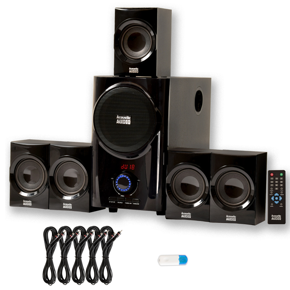 Acoustic Audio AA5160 Home Theater 5.1 Speaker System with USB Bluetooth and 5 Extension