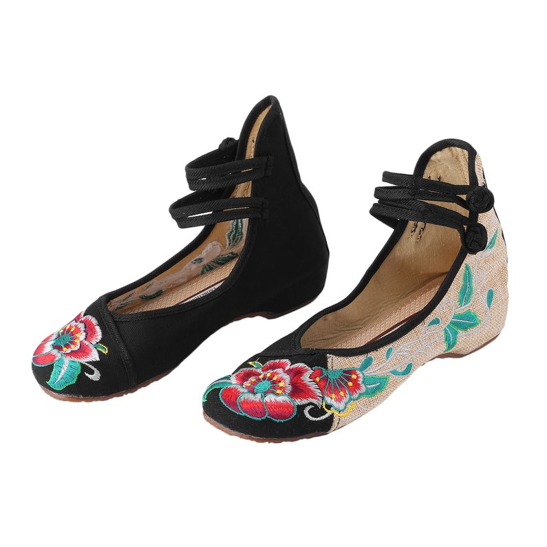 Hot Sale NEW Chinese Style Womens Shoe Casual Soft Sole Shoes Comfortable Hibiscus Embroidered Shoes Fashionable Shoe Plus Size 40(Black)