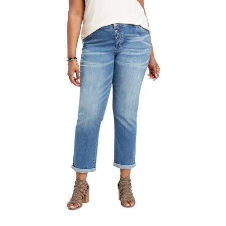 0a678a5ec336e maurices - Plus Size DenimFlex TM Exposed Button Fly Boyfriend Jean -  Walmart.com