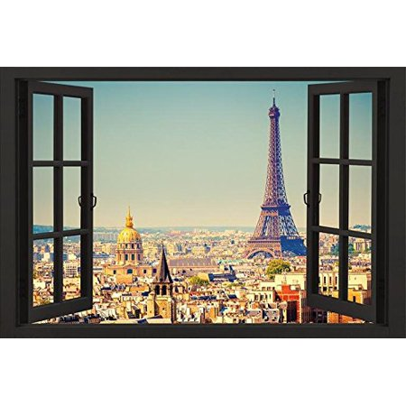 Paris Open Window Skyline 36x24 Eiffel Tower Art Print Poster..., By HUNTINGTON GRAPHICS Ship from (Huntington Hanging)