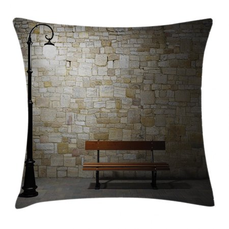 Street Decor Throw Pillow Cushion Cover, Modern Avenue at Dark Night with a Open Lamp and Bench and Stone Wall Behind Image, Decorative Square Accent Pillow Case, 18 X 18 Inches, Multi, by Ambesonne 18 Walk Behind Blade