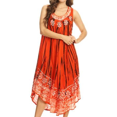 Sakkas Alexis Embroidered Long Sleeveless Floral Caftan Dress / Cover Up - Burnt Orange - One Size Regular for $<!---->