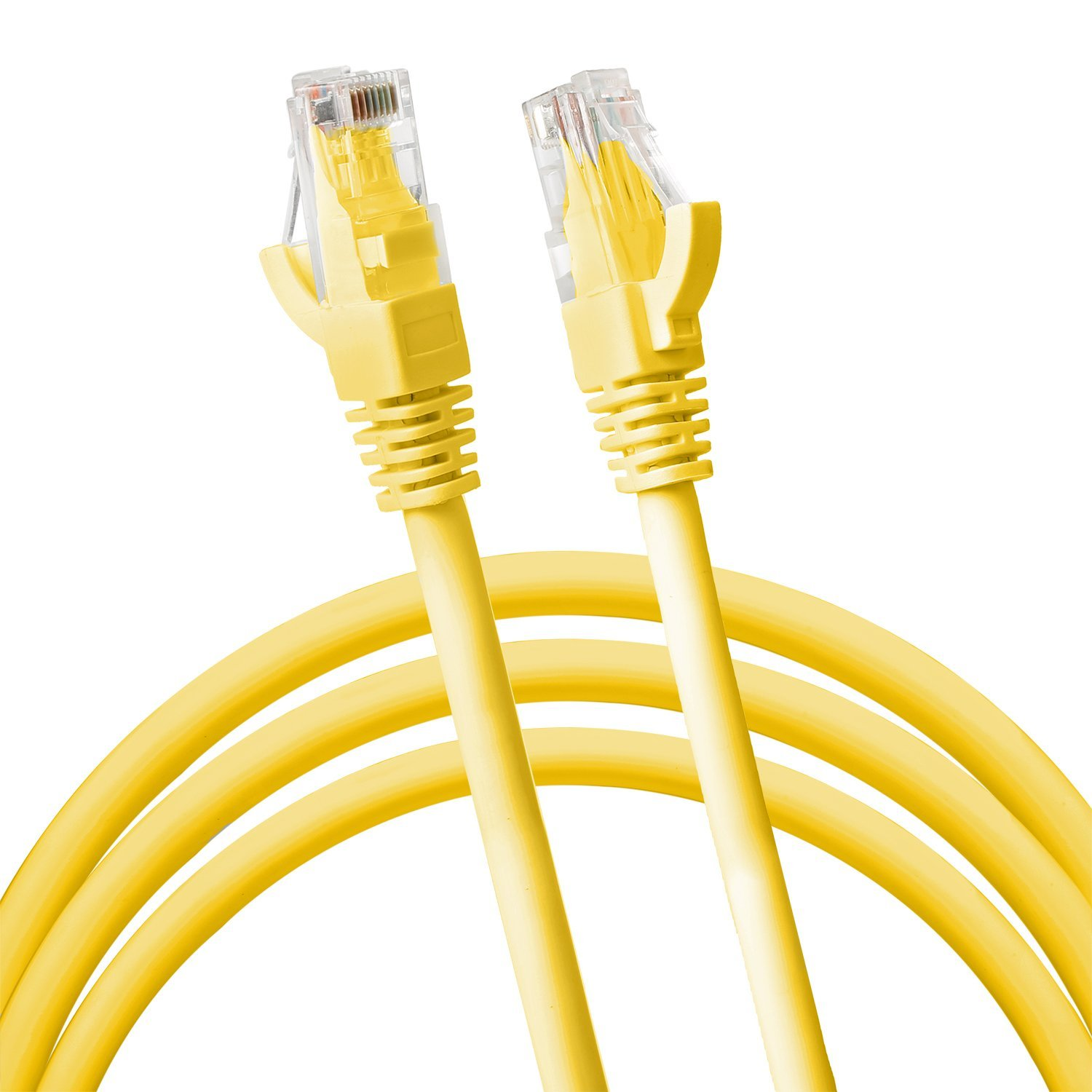 Jumbl Cat6 RJ45 Fast Ethernet Network Cable – 5 Feet Yellow - Connects Computer to Printer, Router, Switch Box or Local Area Network LAN Networking Cord, no Signal Loss