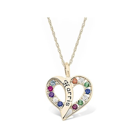 Sterling Silver Family Pendant (Personalized Family Jewelry Flowing Heart Gold Pendant available in Sterling Silver, 10kt and 14kt Yellow and White Gold)