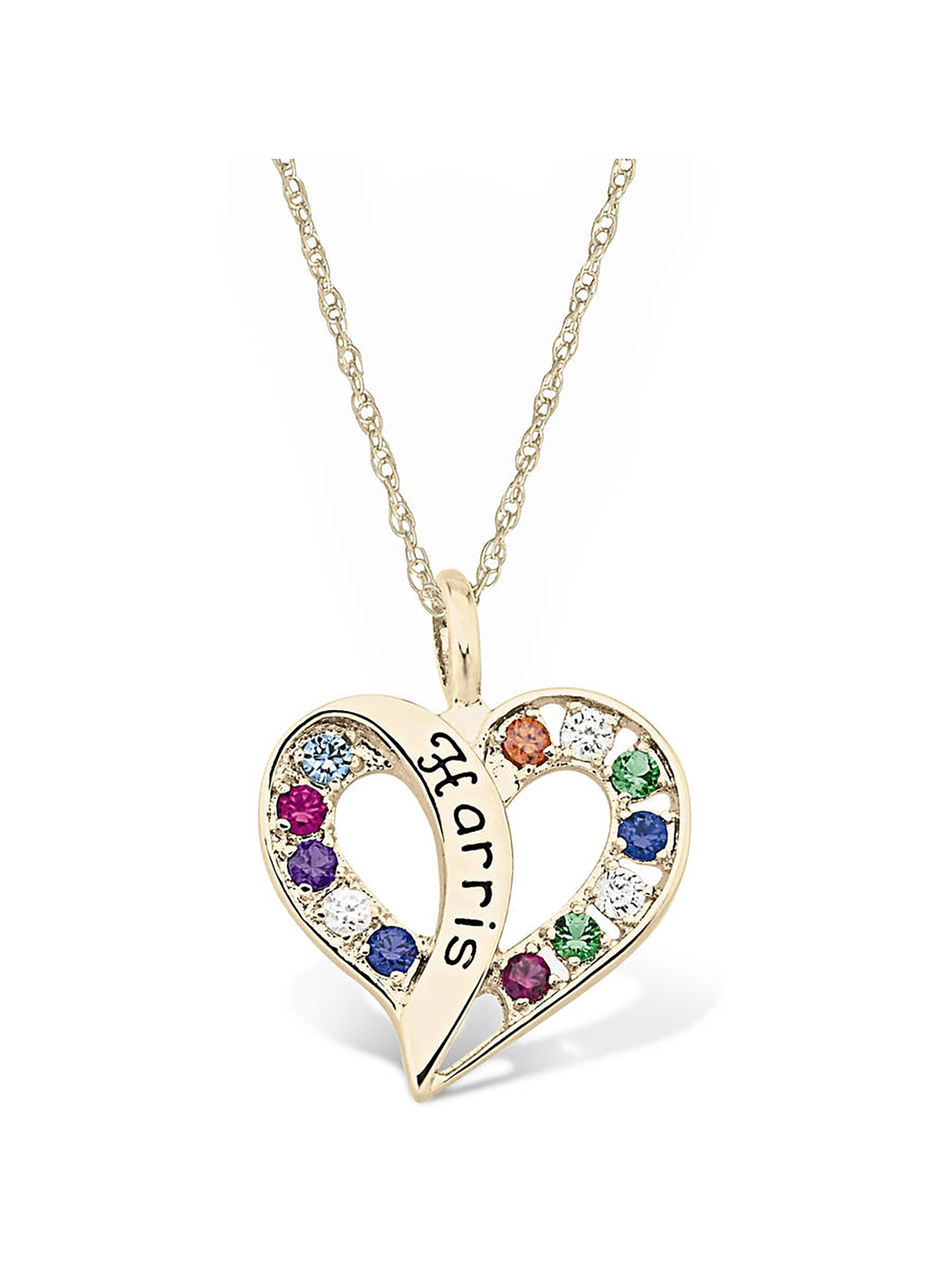 Keepsake Personalized Family Jewelry Flowing Heart Gold Pendant available in Sterling Silver, 10kt and 14kt Yellow and White Gold