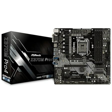- ASRock Z370M Pro4 LGA 1151 (300 Series) Intel Z370 HDMI SATA 6Gb/s USB 3.1 Micro ATX Motherboard