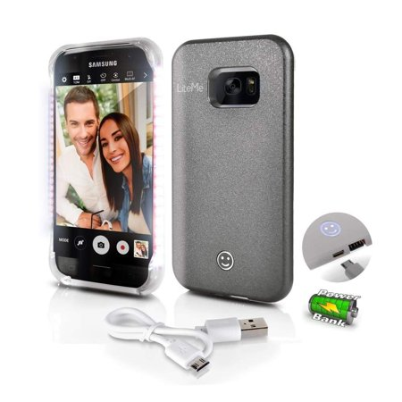 Updated 2018 Galaxy S7 Selfie Light Case - LED Brightness Adjustable - Protective Smartphone Cover - USB Charge Port Includes Charging Cable - Mini LED Strobe Light - Doubles As - Charge Port Cover