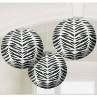 Zebra Print Round Paper Lanterns, 3pk