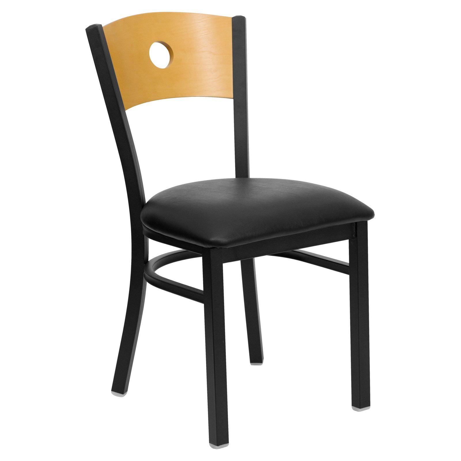 Flash Furniture HERCULES Series Black Circle Back Metal Restaurant Chair, Natural Wood Back, Vinyl Seat, Multiple Colors