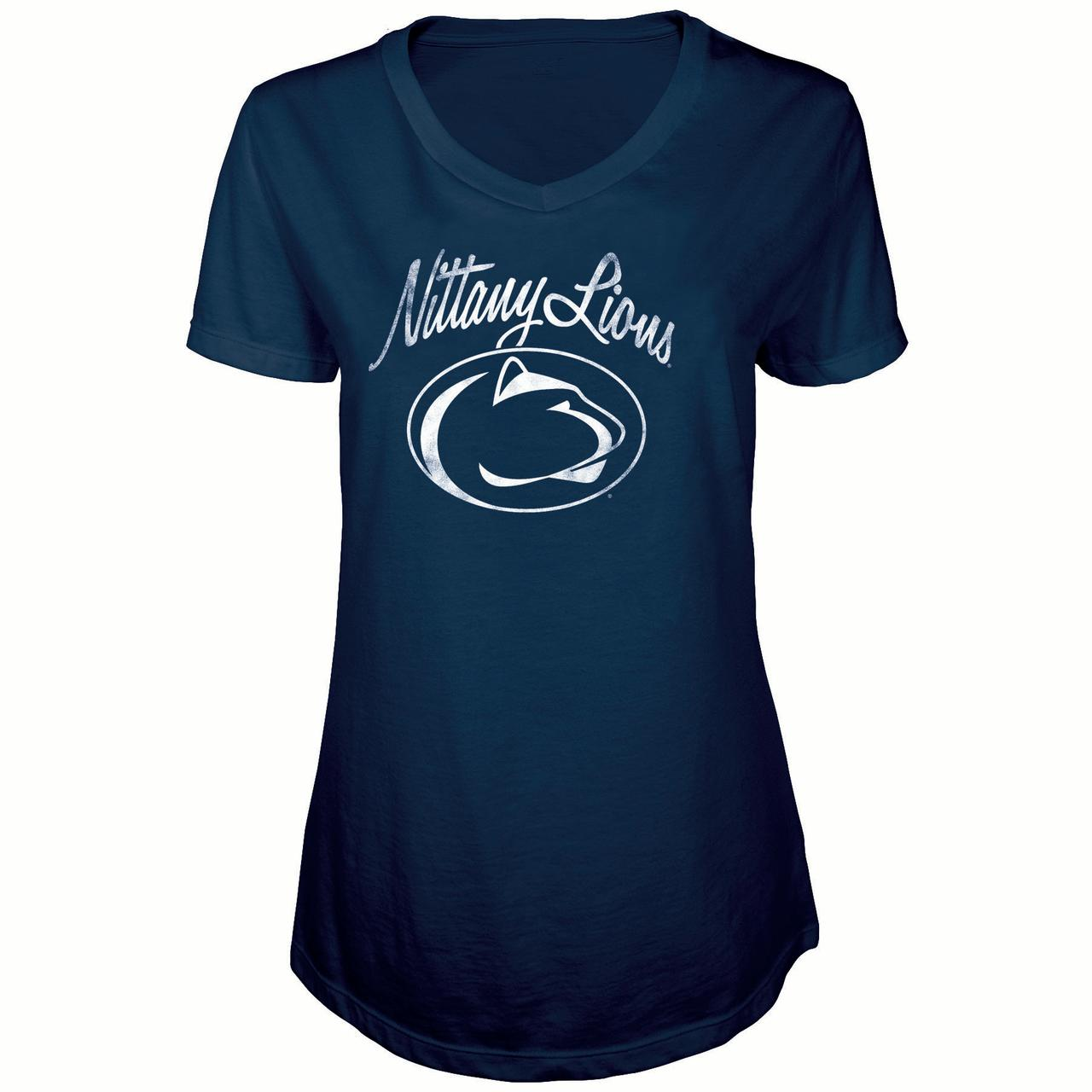 Women's Russell Navy Penn State Nittany Lions Distressed V-Neck Tunic T-Shirt