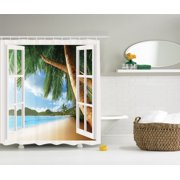 Gazebo Theme Bath Set Ocean Beach House with Palm Tree Fabric Shower Curtain