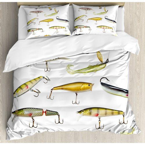 Ambesonne Fishing Tackle Bait for Spearing Trapping Catching Aquatic Animals Molluscs Design Duvet Set by Kozmos