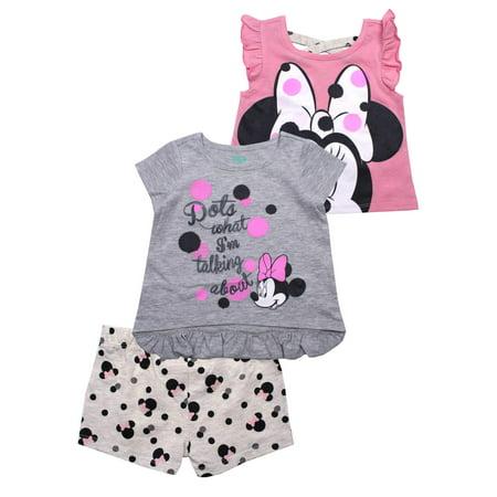 Girls Skort Set - Ruffle Tee, Tank and Short, 3-Piece Outfit Set (Little Girls)