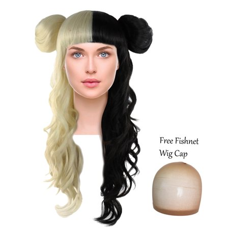 Long Curly Wig w/ Bangs Two Tone Hair Side Buns for Cosplay Costume Blonde and Black (Blonde Ponytail Wig With Bangs)