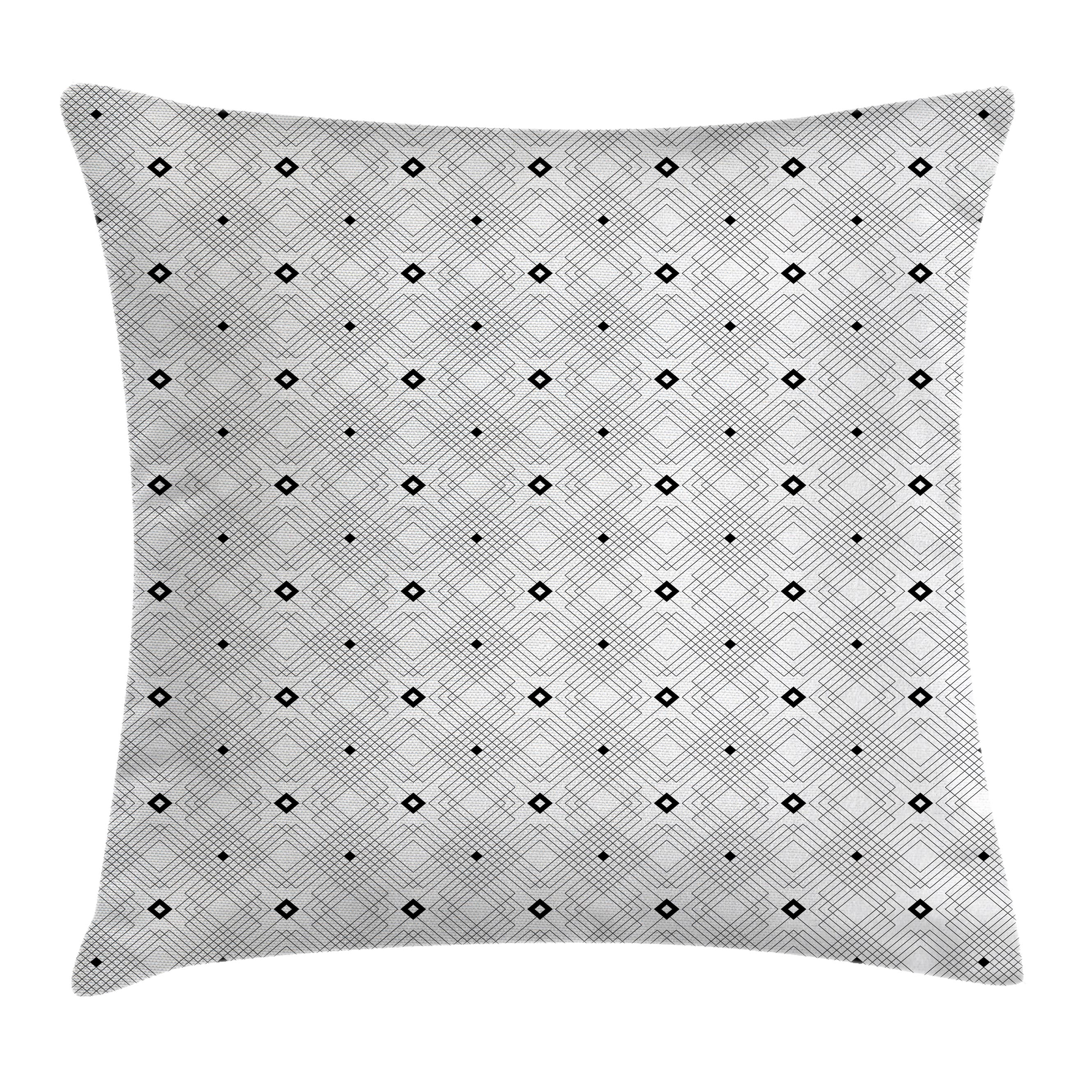 Black and White Throw Pillow Cushion Cover, Geometric Diagonal Squares and Stripe Forms Pattern Modern Style Design, Decorative Square Accent Pillow Case, 18 X 18 Inches, White Black, by Ambesonne
