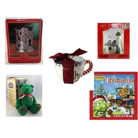 Christmas Fun Gift Bundle [5 Piece] - Home For The s Snowman Votive Holder - Let It Snow Glass Ornament Church - Lady Jane Ltd.  Latte Gift Mug - Limited Treasures  Edition Green Candycane Beanie Be