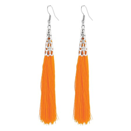 Hollow Bead Cap Cone Accent Hook Hanging Tassel Earrings Dangle Pair Orange