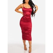 0b42a33102 Womens Juniors Women s Junior Ladies Sexy Must Have Solid Red Wine Silk  Night Out Party Clubwear